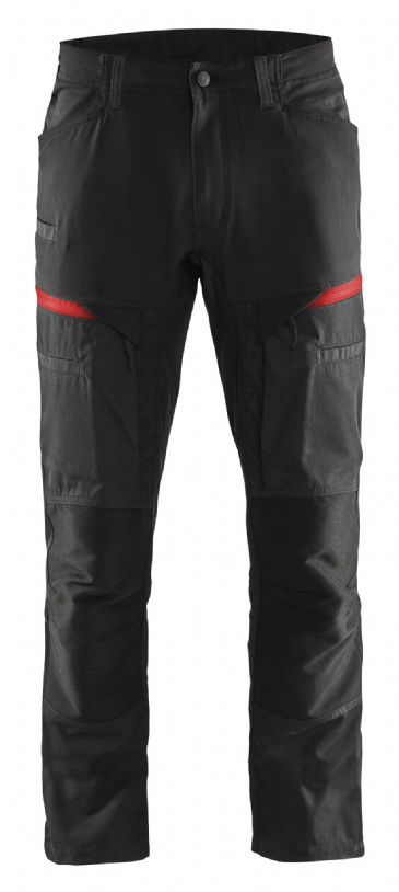 Blaklader 1456 Stretch Service Trousers - 65% Polyester/35% Cotton (Black/Red)